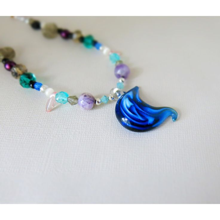 Celestial Blue Moon - Glass Beaded Necklace - lobster claw clasp - 16 inches