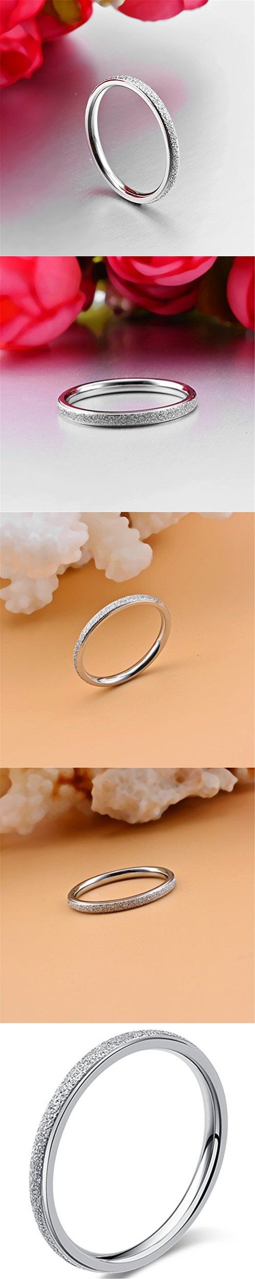 Womens 2mm Stainless Steel Sand Blast Finish Silver Wedding Band Engagement White Gold Domed Ring Size 5