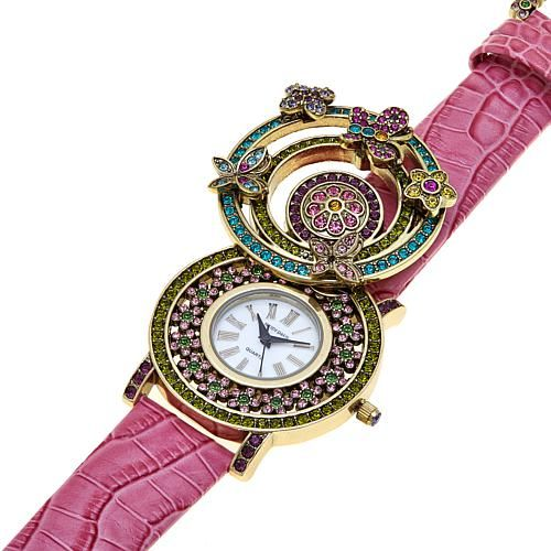 Heidi Daus Butterfly and Flower Crystal Flip-Up Leather Strap Watch - Blue