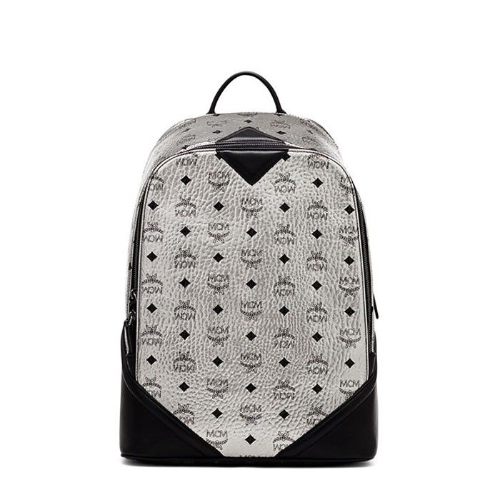 MCM Medium Duke Visetos Backpack In Silver