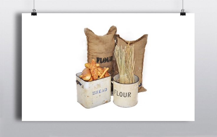 Selection of Authentic Bakery Props including:  Bread Bin Prop – Authentic metal bread bin with selection of plastic breads  Flour Canister Prop – Authentic Tin Flour Canister with wheat strands  Flour Bags – Selection of Flour Bag Props measuring 70cm x 30cm http://www.prophouse.ie/portfolio/selection-of-bakery-props/