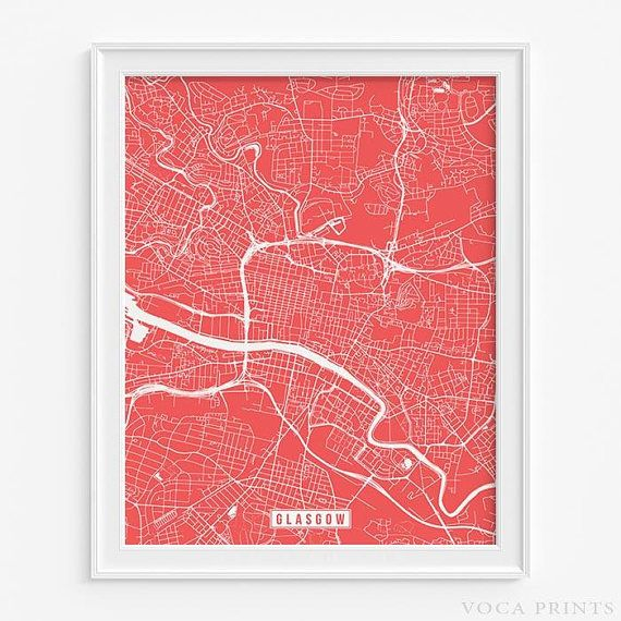 Glasgow, Scotland Street Map Wall Art Poster. Starting at $9.90 with 42 color choices. Click Photo for More Info - #streetmap#map#christmasgifts#wallart #Glasgow #Scotland