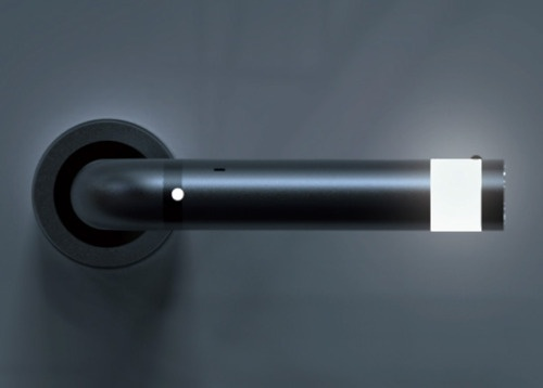 Glowing LED door handle guides you to the door at night!