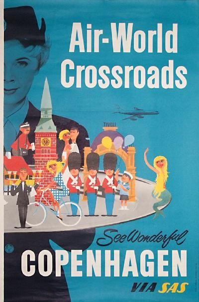 Poster: SAS - Wonderful Copenhagen. Artist: unknown. via poster team
