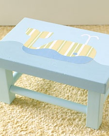 whale step stool and other decoupage ideas for the nursery