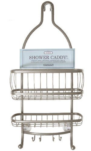 InterDesign York Lyra Shower Caddy, Satin by InterDesign. $21.99. Contemporary design. Beautiful satin finish. Suction cups help keep caddy in place. 2 hooks for wash cloths, loofahs and so much more. 2 shelves for all your shower needs. Organize your soap, shampoo and conditioner in style. Both attractive and functional this contemporary shower caddy is made of steel tubing that is rust-resistant, durable and finished off in a beautiful satin finish. The wire loo...