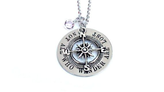 Not All Who Wander Are Lost- Hand stamped one letter at a time on a 1 1/4 Stainless Steel Washer. I buff and polish the front of the stainless steel washer to a shiny smooth mirror finish. Attached in the middle of the washer is an antique silver tone compass charm. Lead Free and Nickel Free Zinc Alloy Metal. (29 x 24 mm Round) The chain for the necklace is a elegant and shiny stainless steel cable chain 18 long and is not adjustable. I can custom cut the length of the chain if you p...