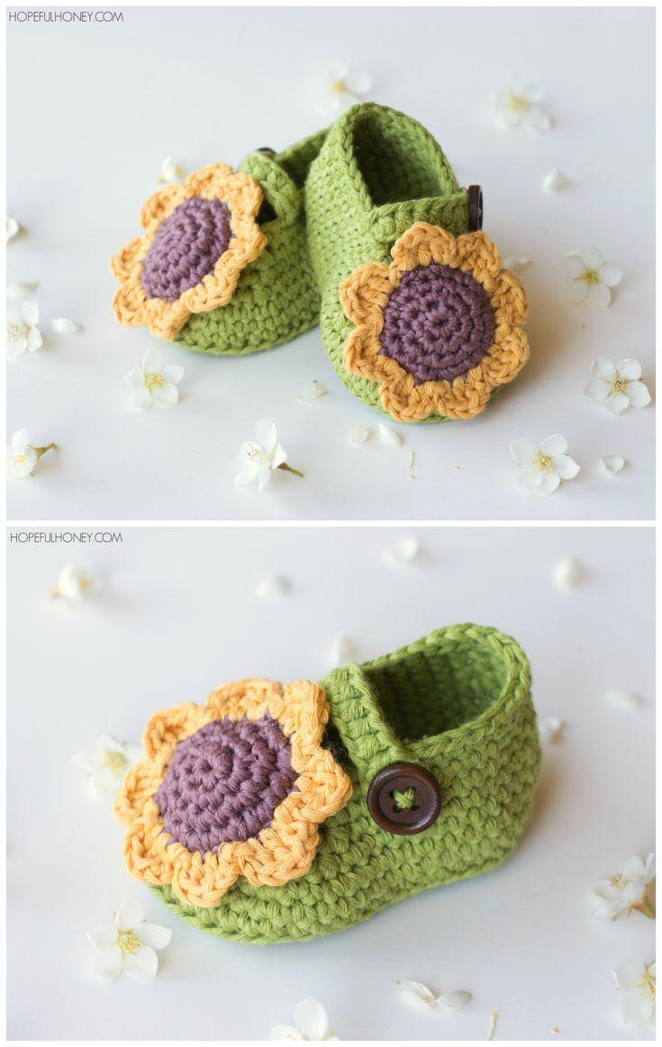 Sunflower Baby Booties - Crochet Pattern