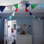 Bunting hanging from the ceiling - so fun!: Toddlers Rooms, Toddlers Boys Bedrooms, Rooms Idea, Fun Boys Rooms Blue Green, Baby Boys, Projects Nurseries, Big Boy Rooms, Kids Rooms, Big Boys Rooms