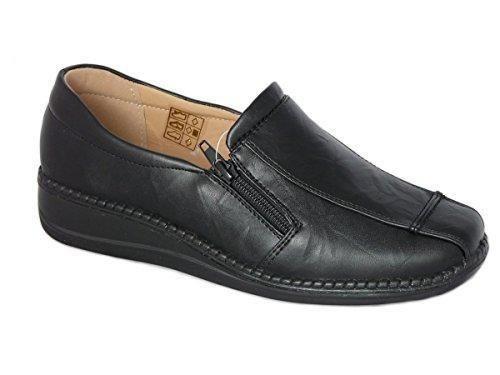 Oferta: 20.95€. Comprar Ofertas de Zapatos de Mujer Mocasines Ligero, Cuero de Imitación, Zapatos Cómodo sin Cordones - con Doble Cremallera (EU 41 UK 7, Negro) barato. ¡Mira las ofertas!