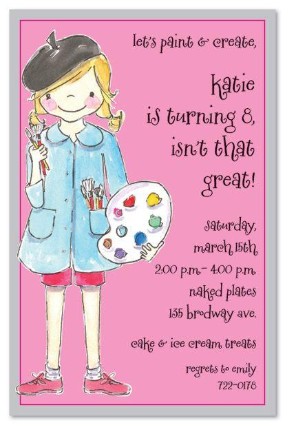 Artist Girl Birthday Party Invitations