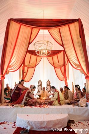 The Bride And Groom Participate In Gujarati Hindu Customs Rituals Throughout Indian Wedding Celebration