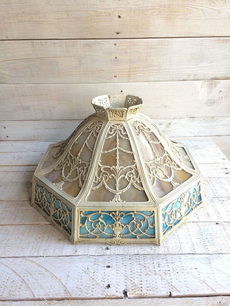 1920s Stained Glass Lamp Shade, Victorian Lamp Shade, Slag Glass, Pastel, Blue Antique Lamp Shades, Edwardian Lamp Shade, Hanging Lamp Shade by BostonInventory on Etsy https://www.etsy.com/listing/240770789/1920s-stained-glass-lamp-shade-victorian