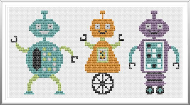 """3 Little Robots free cross stitch pattern download... Cute as """"3"""" different Bookmarks!"""
