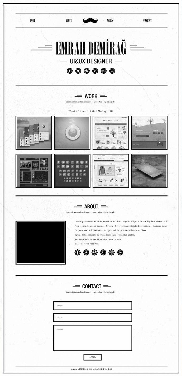 retro single page portfolio template free psd download. Black Bedroom Furniture Sets. Home Design Ideas