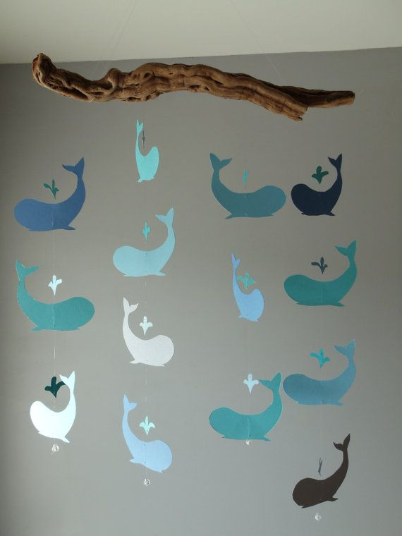 Cute whale mobile - in line with nautical theme for a boy's nursery    from etsy.com