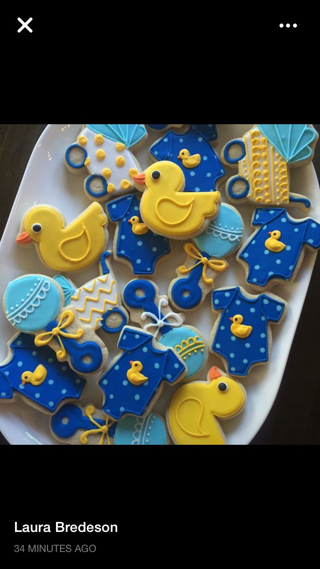 Rubber ducky themed baby shower cookies by Hayleycakes and cookies in Austin tx