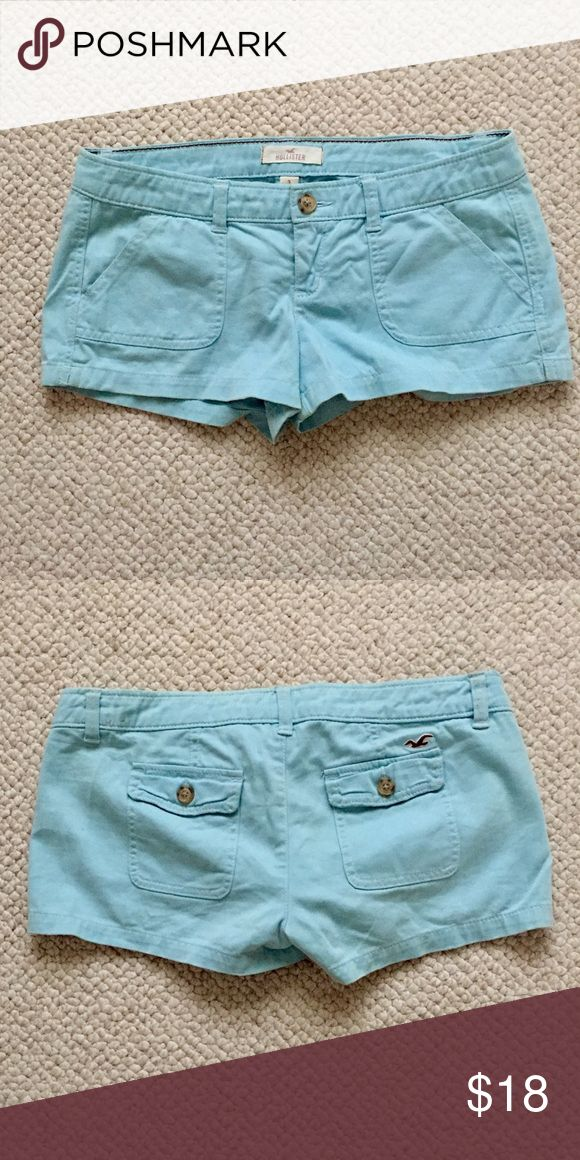 Baby blue HOLLISTER shorts Almost new baby blue Hollister shorts. Size 3! Hollister Shorts Jean Shorts