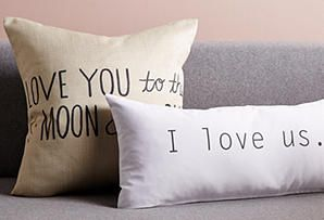 Pillow Talk: Pillows with Messages  -- ALL of these are AWESOME...but unfortunately overpriced. If you can sew and do a little fabric painting or screen printing, you are SET! :-)