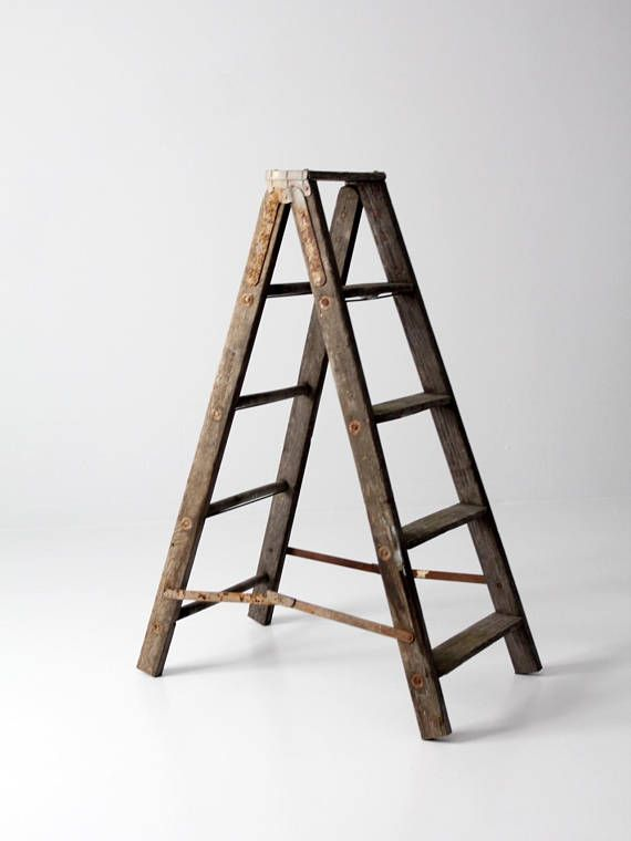 This Is A Vintage Wooden Folding Ladder Hang Textiles And Towels Or Use As Shelf This Old Painters Ladder Has Great Ch Wood Ladder Ladder Decor Vintage Wood