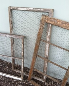 Agape - Wood Window Frames With Chippy Paint & Chicken Wire Inserts