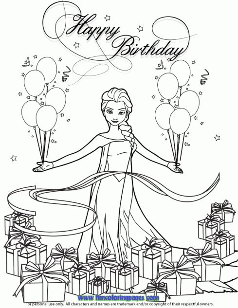 Frozen elsa coloring pages happy birthday sketch coloring page
