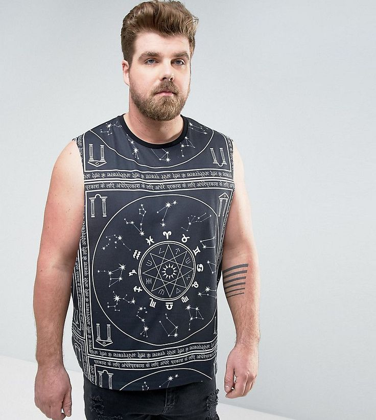 ASOS PLUS Sleeveless T-Shirt With Extreme Dropped Armhole And Mystic P