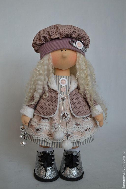 Купить Molly - бледно-розовый, серый, интерьерная кукла, авторская ручная работа