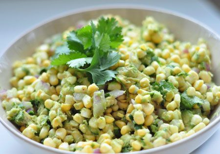 Fresh Corn and Avocado Salad. I'll have to remember to try this next spring!