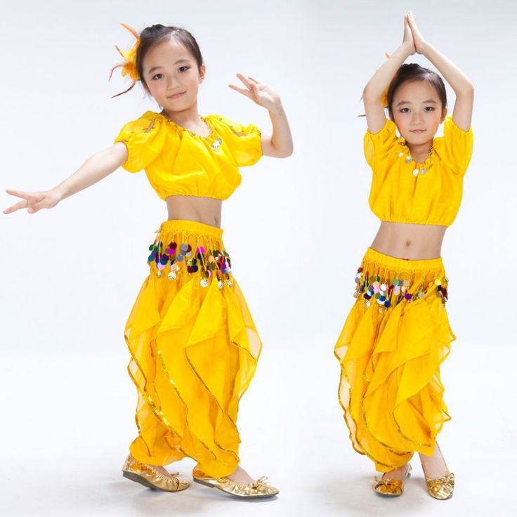 US $16.90 / piece Belly Dance Children Set Lanterns Short Sleeve Top&Mixed Color Causeway Rotating Pants Clothes For Belly Dancing India Dress