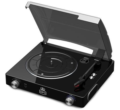 GPO Stylo Vinyl Record Player - black