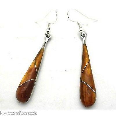 Silver-Earrings-Handmade-Dangling-Fashion-Jewelry-Long-Tiger-Eye-Alpaca-Teardrop