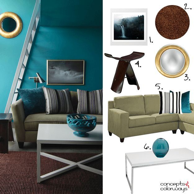 Teal Green Living Room, Interior Styling, Interior Mood Board, Get The Look, Part 64