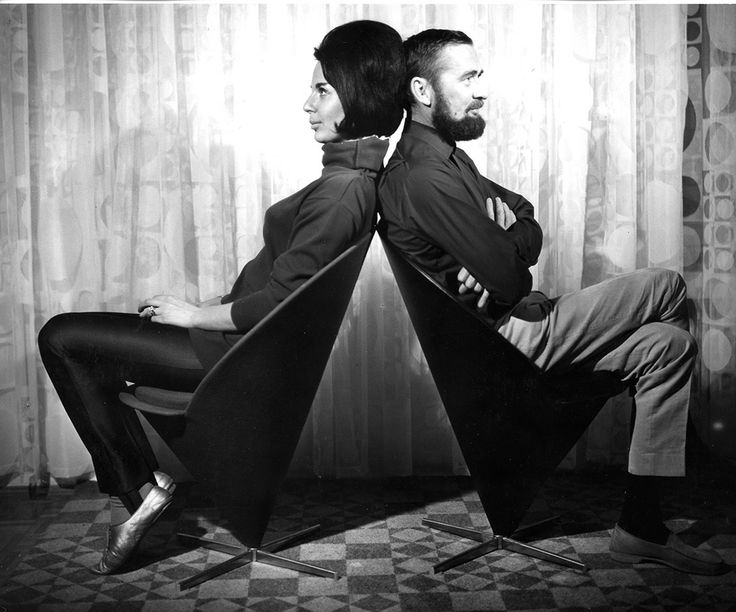 danish designer verner panton 1926 1998 with wife marianne mcm stylish pinterest. Black Bedroom Furniture Sets. Home Design Ideas