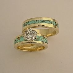 Gold And Turquoise Wedding Rings | Wedding Engagement Rings, southwest wedding rings , turquoise wedding … | Look around!