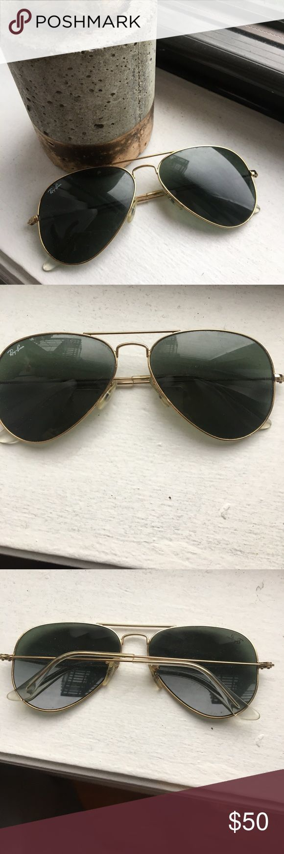 Ray-Bans Large Aviators Gold/Green Lenses Lightly worn ray-bans in the large aviator style. Note - I lost the case for this one! Ray-Ban Accessories Sunglasses