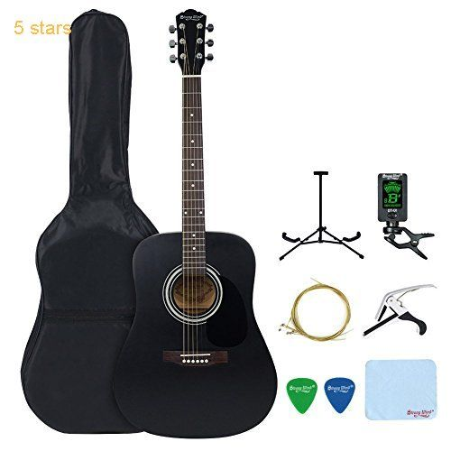 41-inch Acoustic Guitar Strong Wind Full Size Dreadnought Steel String Acoustic Guitar Kit with Gig Bag Tuner Extra Strings Picks Guitar Stand Polishing cloth and Guita Capo  Black