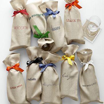 I love the Linen Wine Bag with Grosgrain Tie on markandgraham.com