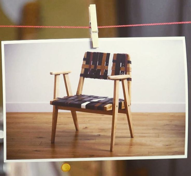 Old chair upcycled with belts from thrift shop