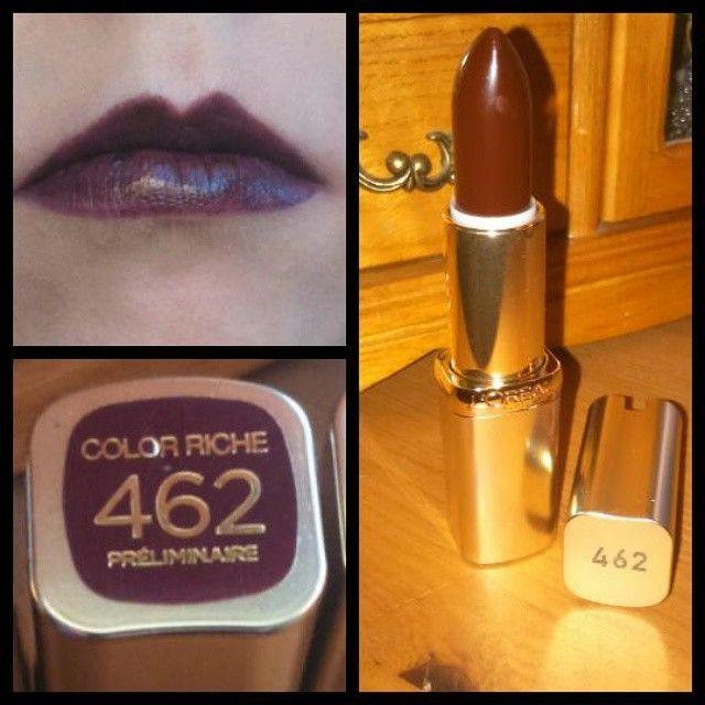 """Ľoréal paris lipstick bought for £6.99 at boots 462 preliminaire gloss colour  This what it looks like on. #loreal #paris #lipstick #purple #preliminaire…"""
