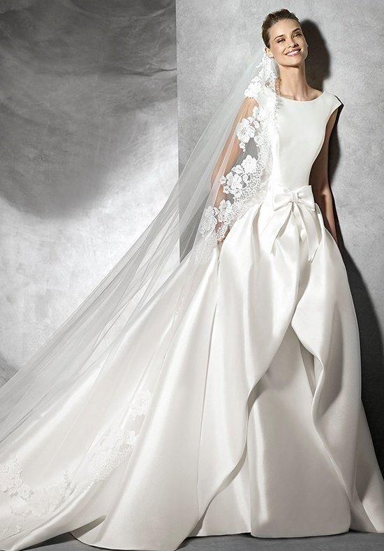 Mermaid dress in mikado silk with bateau neckline | Pronovias | https://www.theknot.com/fashion/tabina-pronovias-wedding-dress