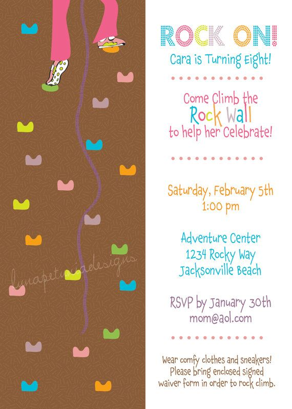 Best Rock Climbing Birthday Party Images On Pinterest - Birthday party invitations rock climbing