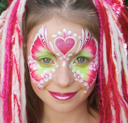 Jenny Saunders Flouro Pink Butterfly Face Painting