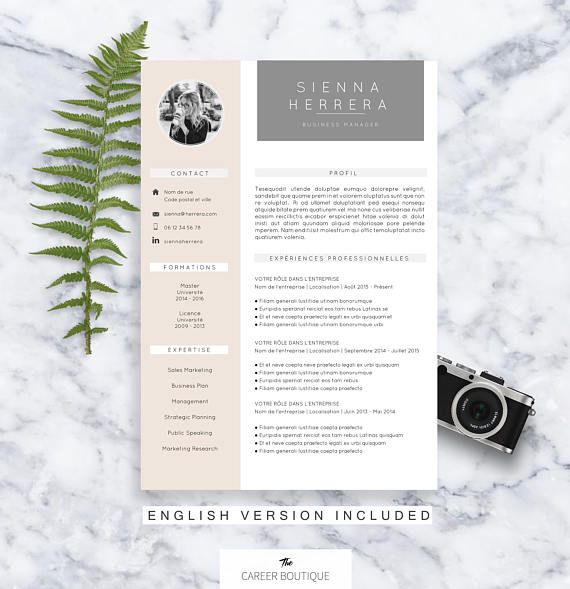 Shop the new CV Template Sienna at The Career Boutique! Profit from our Chrismas sale until 31th of December with the code: XMAS25.