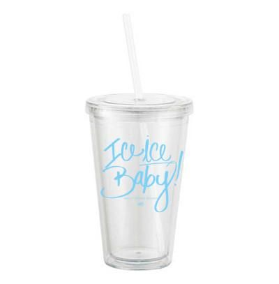 Stay cool--and keep your drinks cooler--with our favorite tumbler! 16 ounces clear acrylic, double wall tumbler threaded lid & matching straw icy blue hand