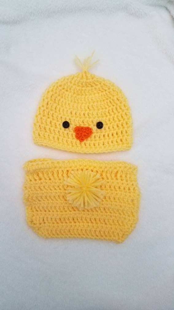 75ff60a56 Crochet Diaper Cover Crochet baby Hat - Baby Chick Set - Easter Gift ...