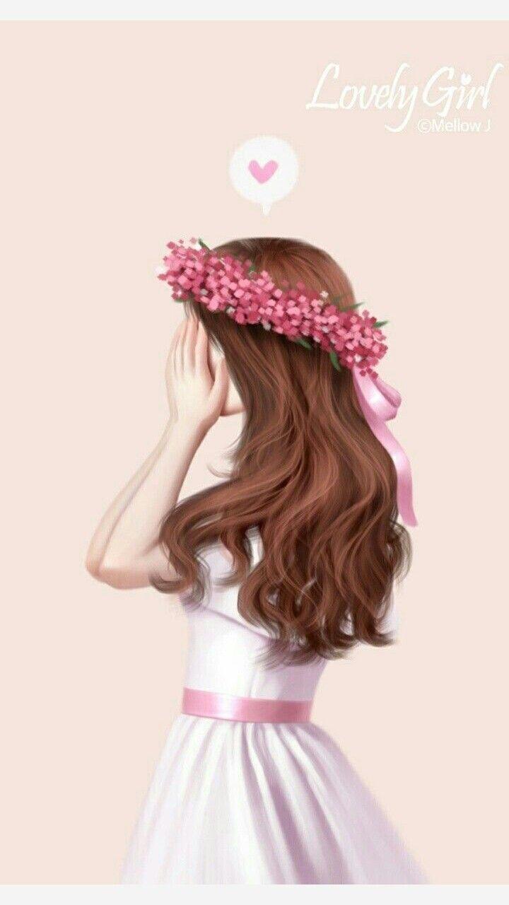 Free Monogram Wallpaper For Iphone Pretty Flower Crown Girl Cute Girl Wallpaper Art Girl