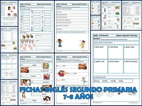 Inglés: 20 Fichas con más de 60 ejercicios de Inglés Segundo de Primaria, niños de 7-8 años, en estas fichas podremos repasar: vocabulario (...