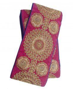 Galon Indien brodé large 12 cm x 1 M Rose Doré Motifs arabesque