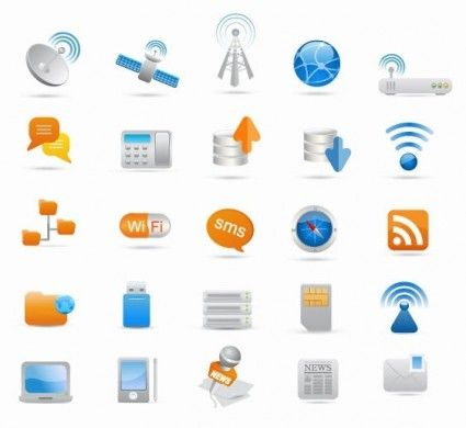 Wireless and Communication Icon Set